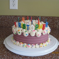 Swirly Birthday Cake Birthday cake for a 3 year old. Banana cake with vanilla pudding filling and almond buttercream. Inspired by a wilton design. Combed the...