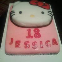Hello Kitty Cake   vanilla/chocolate cake with raspberry filling
