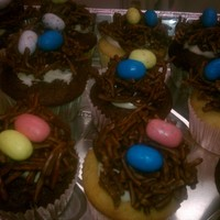 Easter Cupcakes Lemon and Chocolate Cupcakes with Bird nest cookies on top!
