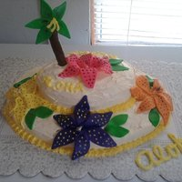 Aloha Pineapple cake with Pina Colada icing. Day lillies and tree are MM fondant.