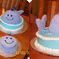 Purple Whale Whale cakes - there were 2 separate parties, therefore the 2 cakes. Purple whale was the requested color. These were made out of a dairy...