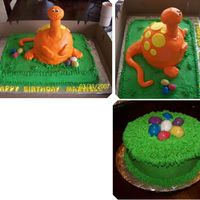 Dinosaur Cake This was for a first birthday. Smash cake was a nest, with dino eggs. Birthday cake was all white cake, with buttercream icing for the...