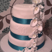Ivory Wedding Cake With Lilies ivory wedding cake with lilies