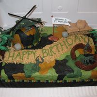 "Camo Cake Buttercream graham cracker/brown sugar ""dirt road - purposely left the texture ""rough"" to look more like terrain. Army men,..."