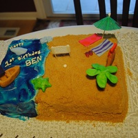 1St Birthday Beach Party Cake This was for my son's 1st Birthday. The theme was beach party. My 12 yo niece and 8 yo nephew helped w/ all the fondant pieces, as I...