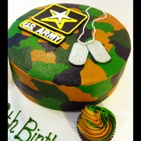 Camo Cake 18th Birthday for my friends son, plus he's going into the Army.Strawberry cake with lemon mousse filling. Army patch and dog tags are...