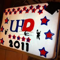 Uh Downtown Cake 1/2 sheet, vanilla cake with Rasberry filling, MM fondant. University of Houston Downtown cake.