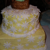 Daisy Cake 8in square: strawberry with strawberry shortcake bc; 6in: white chocolate with white chocolate cream cheese bc. Fondant daisies and RKT...