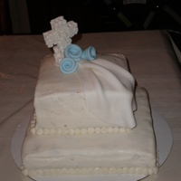 Christening Cake Strawberry and Oreo heath cake. Made for my nephew's christening. Fondant drape and roses. Gumpaste cross. Thanks to CCers for...