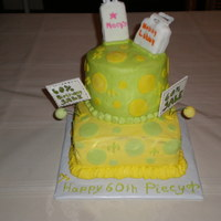 Whimsical Shopping A whimsical shopping themed cake for a youthful 60 yr old. Strawberry and lemon cake. Gumpaste coupons. Shopping bag were RKT and fondant...
