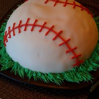 Baseball Cake   Baseball Cake made with Wilton ball pan, fondant, and red icing.