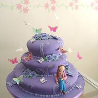 Violet Cake With Butterflies This cake was inspired in a pink cake box design.