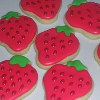 Strawberry Cookies just playing around with some new cutters! royal icing, nfsc