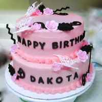 Dakota's Birthday Cake   Made of buttercream icing, fondant flowers, royal icing butterflies and molded chocolate. I really had fun making this cake!