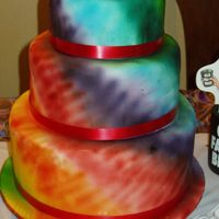 Tie-Dye Cake Not actually for a wedding but could have been, covered in white fondant then airbrushed for tie-dye effect