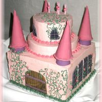 Princess Castle Cake For my daughter's 4th birthday. White cake with lemon filling, strawberry cake with fresh strawberries, all covered with IMBC, fondant...