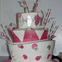 Pink And Silver Whimsy White Buttercream with painted fondant accents