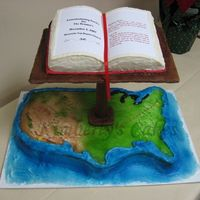Across The Country This was a commissioning cake for our Pastor who is starting a new church in AZ. It is a carved marbled sheet cake, BCI ,airbrushed....