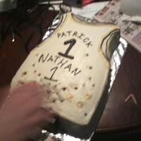 Jersey Cake i definitely did not take a picture befor the candles were lit. looks like bullet holes in it ha ha