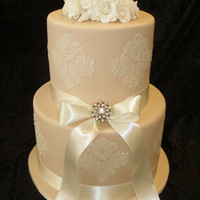 Two Tier Damask Wedding Cakes With Roses
