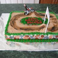 Dirt Bike 9x13 cake; fondant rocks, BCI, plastic bike and figure