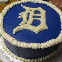 Detroit Tigers Cake Buttercream with white chocolate decal