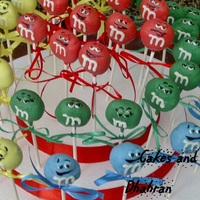 M And M Character Pops   cake pops to look like the M&M characters,