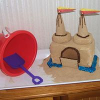 Sand Castle I covered angel food brinks with butter cream and then granulated brown sugar to make it appear like a sand castle. Ice cream cones for the...
