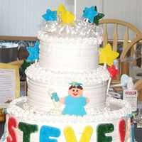 "My First ""big"" Cake I made this cake for my husband's cousin's high school graduation. I never did a tiered cake before this- and should have used..."