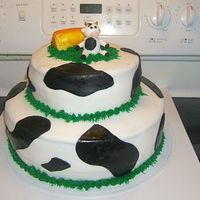 Cow Cake 2 layers - fondant covered and fondant cow and hay bale