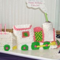 My First Train Cake I made this cake with the 3-D pan and it spewed everywhere. It said to use a heavy cake so I choose pond cake and served the slices with...