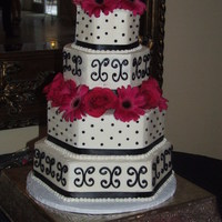 Pink And Black Wedding Cake