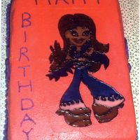 Bratz Cake This is a 9x13 lemon cake with buttercream icing and the image was done in color flow