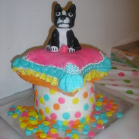 Prissy My cousin wanted a dog that looked like our Grandfather's dog Prissy. Two six inch round bottom with small pillow cake on top. The dog...
