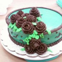 Teal And Brown CHOCOLATE CAKE DECORATED IN TEAL BUTTERCREAM W/ CHOCOLATE BUTTERCREAM ROSES