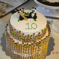 "Panda Cake This cake is an oreo pound cake with buttercream icing. The pandas and leaves are fondant and the ""bamboo"" is prailines."