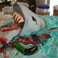 Birthday Cake For My Grandson  My grandson wanted a gory shark cake. This was the 3rd cake I had ever made after my Wilton classes. Thanks to ideas from other cakes on CC...