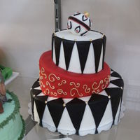 Black, Red, And White Christmas Cake Did this for our State Fair.