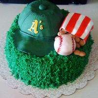 Baseball Cake My friend loves the A's. so I made her a baseball cake. Everything sculpted piece is fondant except the red stripes which are Fruit...