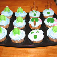 Princess And The Frog Cupcakes Quick cupcakes I threw together for my daughter's birthday at school. Made the cattails out of raw spaghetti( which the kids loved to...