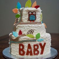 Owl Baby Shower Cake White chocolate lemon cake with raspberry filling and white chocolate cake with white chocolate ganache BC filling, BC, and fondant...