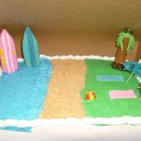 Beach Cake W/ Surf Boards   buttercream icing and fondant