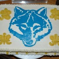 Wolf Scout Cake Cake I made for my son's wolf scout family cookout. He wanted me to make a cake with a wolf on it. I did my first buttercream frozen...