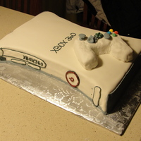 Xbox 360  white cake, strawberry filling, buttercream icing covered in fondant. The controller is rice krispie treats covered in fondant. Thanks for...