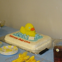 Rubber Duck Shower Cake Buttercream cake and duck. Soap and bubbles made out of fondant.