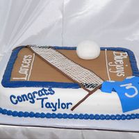Taylor's Graduation 8th Grade graduation cake for a girl who played volleyball. The court is fondant and then I piped the net.