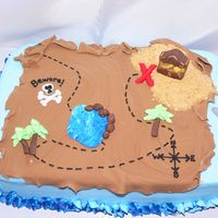 Treasure Map White cake, bc with fondant accents.