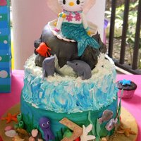Mermaid Hello Kitty  Everything's sugar made on this cake; Kitty, the animals, the shells, the snails and marine plants. First tier background is a hand...
