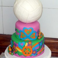 Psychedelic/ Volleyball Cake   Inspired in the 60's. Just in case of doubt, the ball over the cake is a dummy.