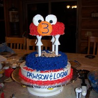 Elmo & Cookie Monster Dawson and Logan Birthday cake